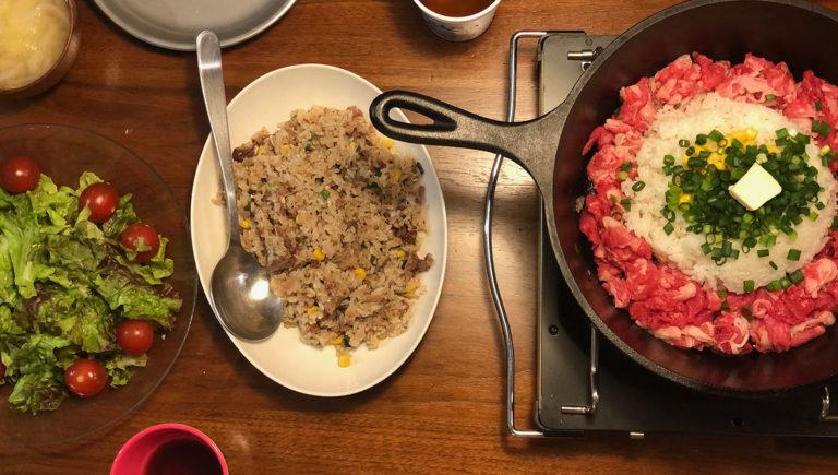 おうちキャンプ飯/ペッパーランチ風ご飯と家庭菜園芽生え編